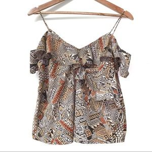 Lucky Brand Cold Shoulder Aztec Printed Top